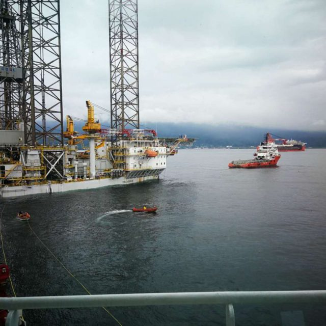A wet tow of a rig from Cameroon to Equatorial Guinea